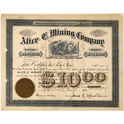 Alice E. Mining Company Stock: Location of Mines: Cooke City, Montana Territory  [123859]
