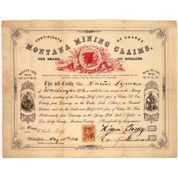 Montana Mining Claims Stock Certificate--Number 1  [129617]