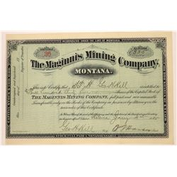 Maginnis Mining Company Stock Signed by Montana Governor  [129602]