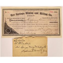 Hot Springs Mining & Milling Co. Stock Certificate  [129611]