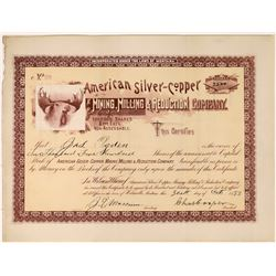 American Silver-Copper Mining, Milling & Reduction Co. Stock with rare Helmville, Montana dateline