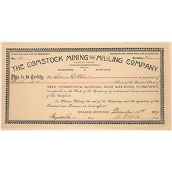 Comstock Mining & Milling Company Stock Certificate  [127162]