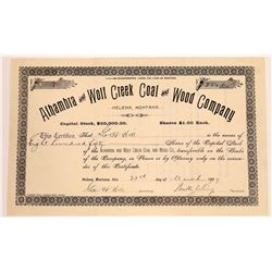 Alhambra & Wolf Creek Coal & Wood Co. Stock Certificate  [129605]