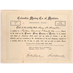 Columbia Mining Company Stock Certificate--Number 1  [129606]