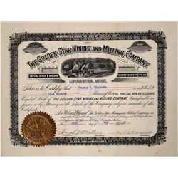 Golden Star Mining and Milling Company Stock, Livingston, Montana, 1892  [123886]