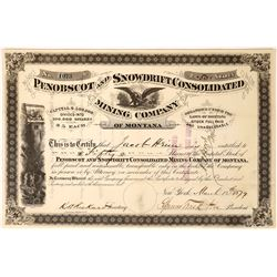 Early Penobscot & Snowdrift Consolidated Mining Company Stock, Marysville, Montana  [123880]