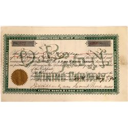 O.R. and N. Mining Company Stock Certificate  [129578]