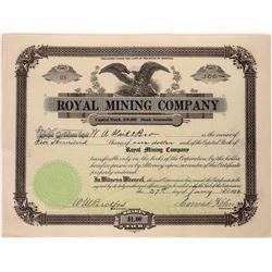 Royal Mining Company signed by Cattle Baron Conrad Kohrs  [123960]