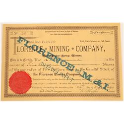 Florence Mining Company Stock Certificate  [129615]