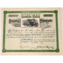 Gospel Mountain Mining Company stock, Oro Fino District, Deer Lodge County, Montana, 1889  [123874]