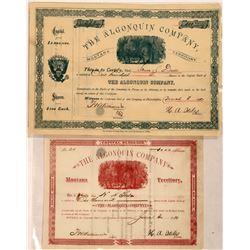 Algonquin Company Stock Certificate Pair  [127168]