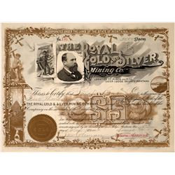 Royal Gold and Silver Mining Co. Stock with Coin & William Clark vignettes