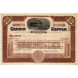 Rare Corbin Copper Company Stock with great vignette of short train exiting tunnel  [123865]