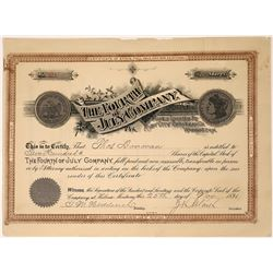 Extremely Rare Fourth of July [Mining] Company Stock with Morgan Silver Dollar Vignette  [123866]