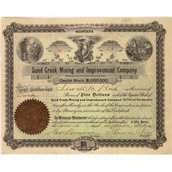 Sand Creek Mining & Improvement Co. Stock Certificate  [113857]