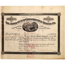 Alder Gulch Consolidated Mining Co. Stock Certificate -- Number 1 -- Montana Pioneers  [129626]