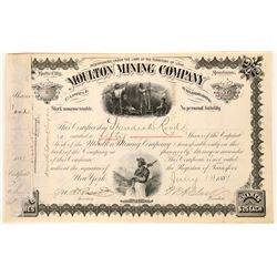 Moulton Mining Company Stock Signed by WA Clark  [129651]