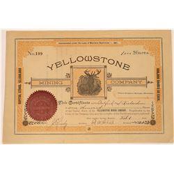 Yellowstone Mining Company Stock Certificate  [129609]