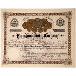 Penn Yan Mining Company Stock, Issued, with famous coin vignette  [123882]