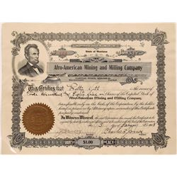 Afro-American Mining and Milling Company Stock--Charles F. Jones, the Montana colored mining man