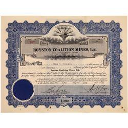 Royston Coalition Mines Stock, Royston Nevada  [129861]