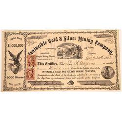Invincible Gold & Silver Mining Co., Nevada Territory, Stock Certificate  [113980]