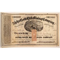 Alpha Gold Hill Mining Company Stock Certificate   [130006]