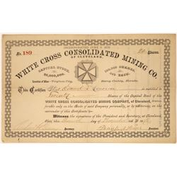White Cross Consolidated Mining Company Stock, Rare Comstock Find, 1878  [128877]