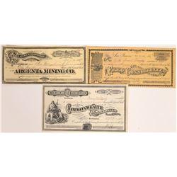 Tuscarora, Nevada Mining Stock Certificate Trio  [113970]