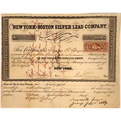 New York and Boston Silver Lead Company Stock, 1860's  [128886]