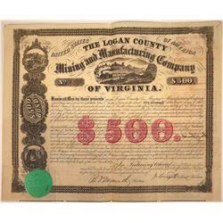 Logan County Mining and Mfg. Company of Virginia Bond, 1860  [128796]