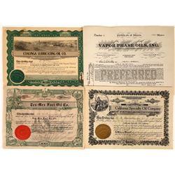 Various Oil Stock Certificates (4)  [127833]