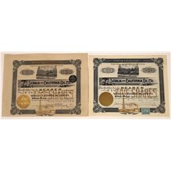 Sedalia & California Oil Bearer Shares (2) 1901-02. One With Coupons  [128688]