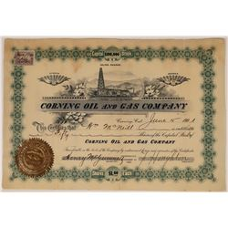 Corning Oil & Gas Stock, Issued at Corning, Rare Dateline, 1901  [128683]