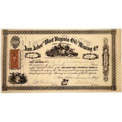 Ann Arbor & West Virginia Oil & Mining Stock, Michigan, 1867  [128723]