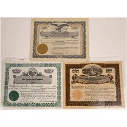 Montana Oil Stock Certificate Trio  [127589]