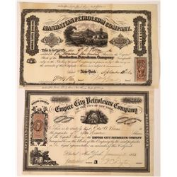 Two New York Oil Stocks dated 1864 and 1865, Very Rare  [128712]
