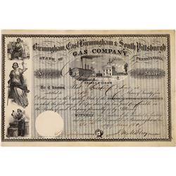 Birmingham, East Birmingham & So. Pittsburgh Gas Co Stock, 1857  [128721]