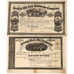 Two Pennsylvania Oil Stocks Issued 1866 With Choice Vignettes  [128717]