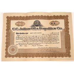 C.C. Julian Oil & Royalties Co. Stock Certificate  [127472]