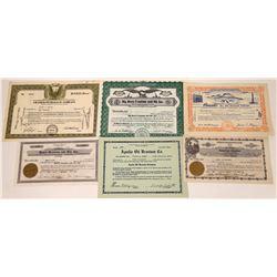 Uranium and Oil Stock Certificates (6)  [127477]