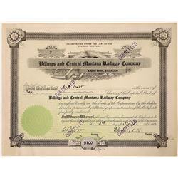 Billings and Central Montana Railway Company Stock Number 3, 1912  [123901]