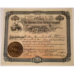 Bozeman Street Railway Company Stock for 3,732 shares, 1904  [123854]