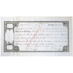 Gallatin Light, Power & Railway Company of Bozeman Montana Stock (hand written)  [123887]