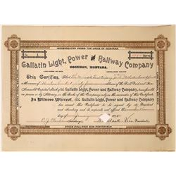 Gallatin Light, Power and Railway Company Stock, Certificate NUMBER 1 to Minneapolis Trust  [123895]
