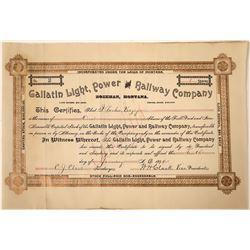 Gallatin Light, Power & Railway Company of Bozeman Montana Stock certificate # 2 signed by WH Clark.