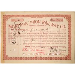 Montana Union Railway Company Stock with Jay Gould Connection  [123912]