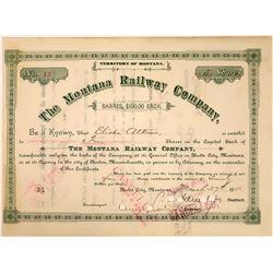 Montana Railway Company Stock , Butte City, Montana, 1886  [123918]
