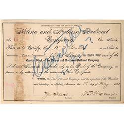 Helena and Northern Railroad Company Stock, 1888, Helena, Montana  [123900]