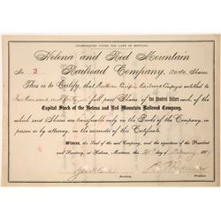 Helena and Red Mountain Railroad Company Stock, Number 3, 1887  [123905]